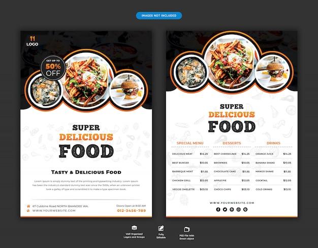 Speisekarte und restaurant flyer vorlage Premium PSD