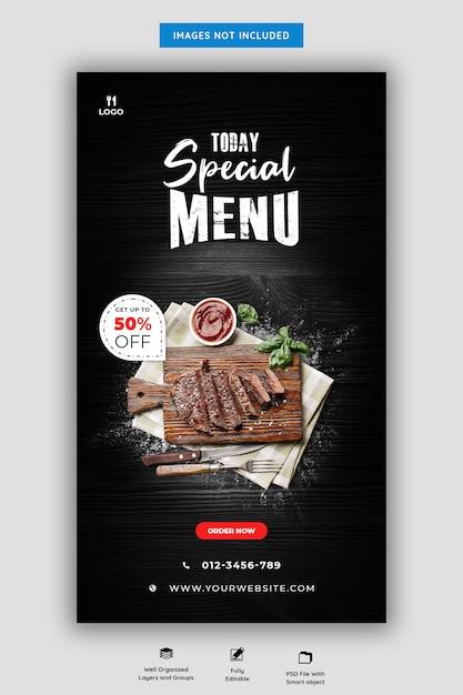 Speisekarte und restaurant instagram story vorlage Premium PSD