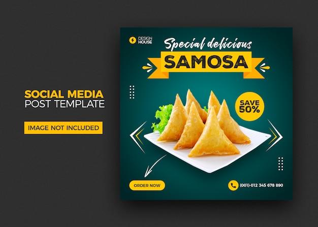 Speisekarte und restaurant samosa social media post vorlage Premium PSD