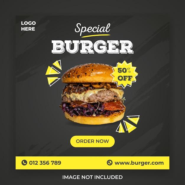 Spezielle burger social media post vorlage Premium PSD