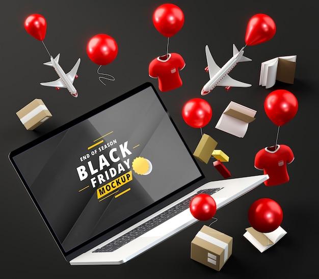 Spezielle tech-aktionen und ballons schwarzer hintergrund Kostenlosen PSD