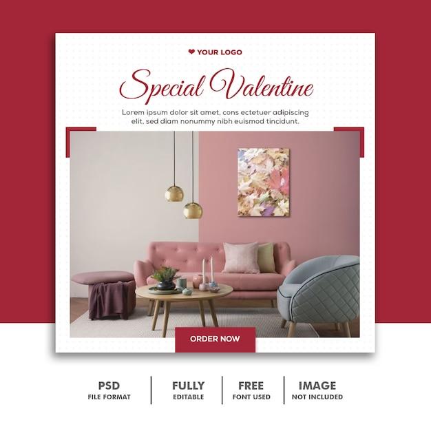 Spezielle valentine post für social media Premium PSD