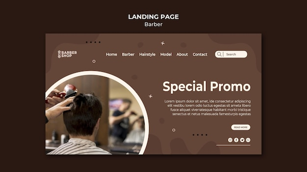 Spezieller promo-kunde auf der landingpage des friseursalons Premium PSD