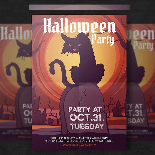 Spooky halloween flyer vorlage Kostenlosen PSD