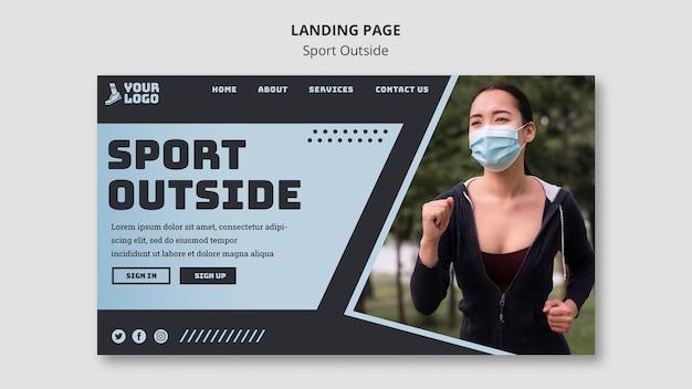Sport außerhalb der landingpage Kostenlosen PSD