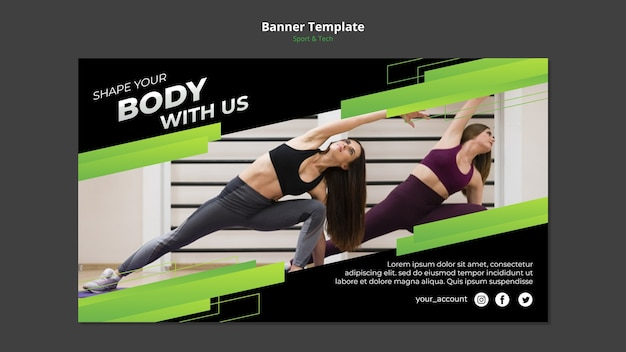 Sport & tech-konzept banner vorlage modell Kostenlosen PSD