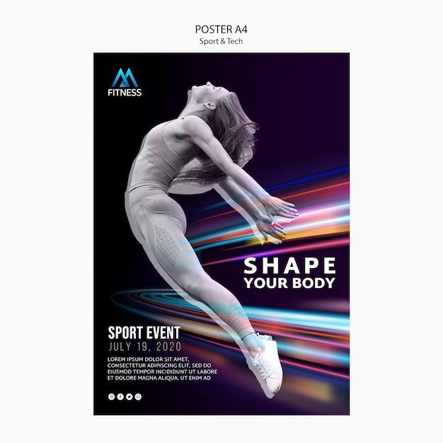 Sport und tech motivationsplakat Kostenlosen PSD