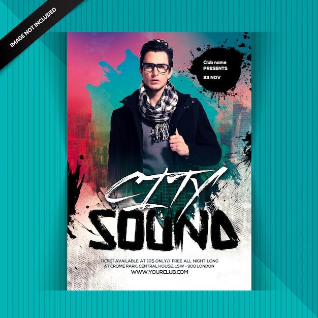 Stadt nacht sound party Premium PSD