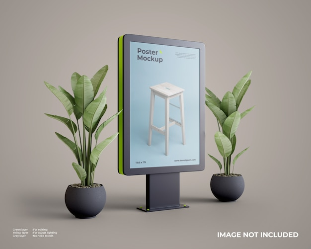 Stadtlichtplakatmodell mit pflanze auf seite Premium PSD