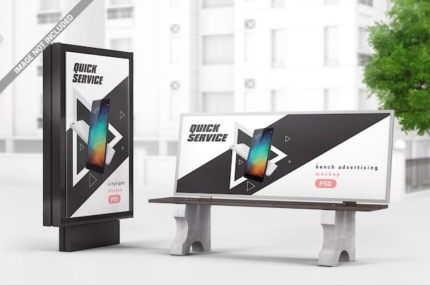 Stadtwerbung leuchtkasten mit bankmodell Premium PSD