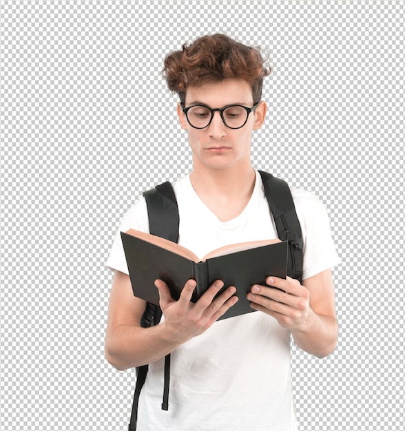 Starker junger student, der ein buch liest Premium PSD
