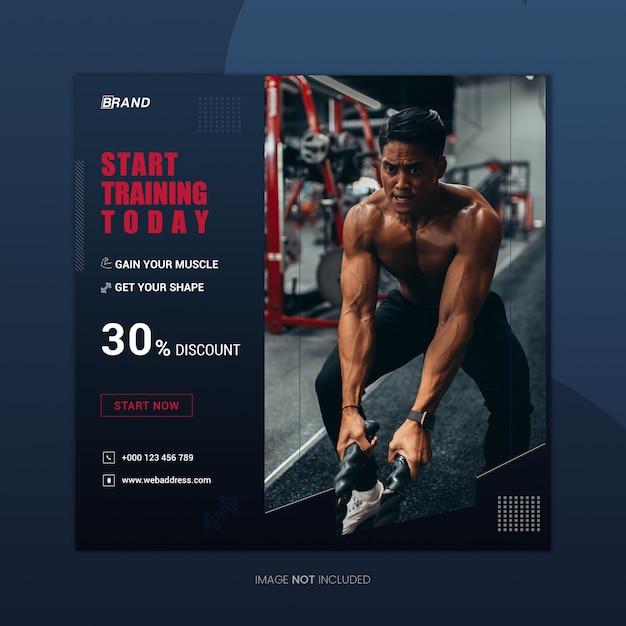 Starten sie das training square instagram banner design template Premium PSD