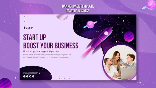Starten sie die business-konzept-banner-vorlage Kostenlosen PSD