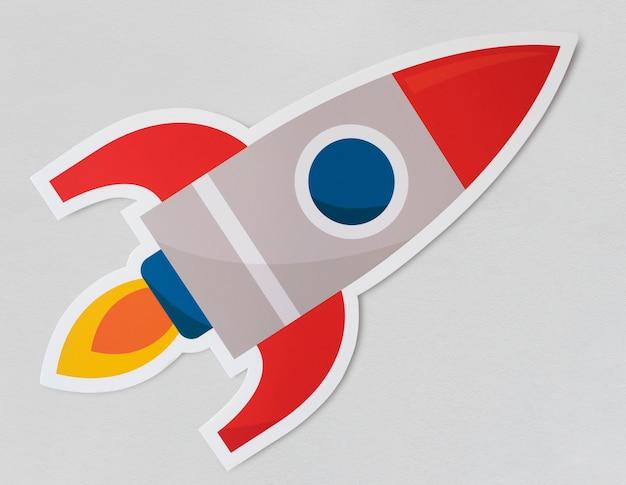 Startendes symbol des rocket-schiffs Kostenlosen PSD
