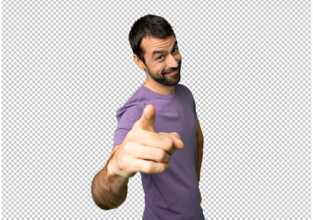 Stattlicher mann zeigt finger auf sie mit einem überzeugten ausdruck Premium PSD