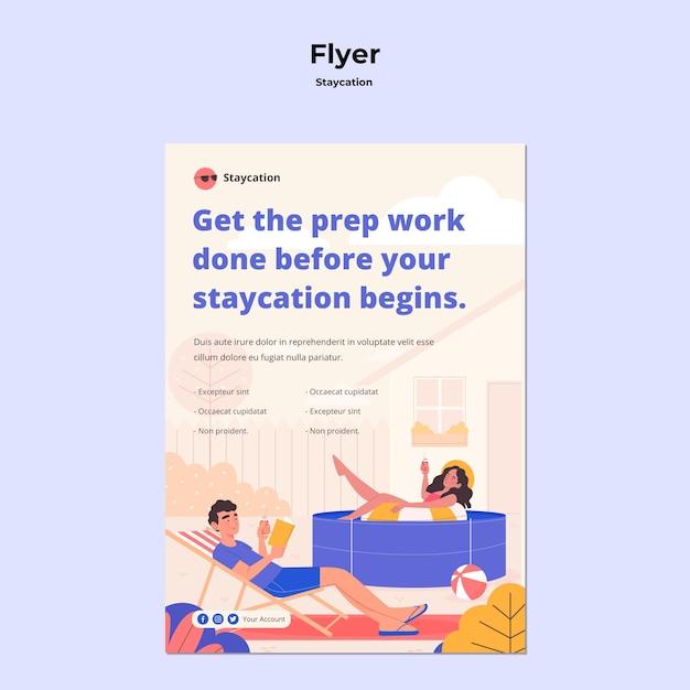 Staycation konzept flyer stil Kostenlosen PSD