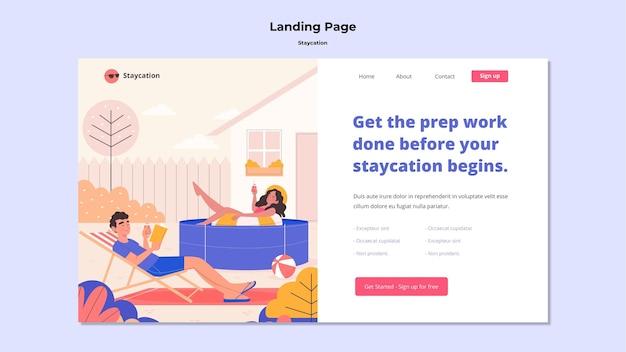 Staycation konzept landingpage design Kostenlosen PSD