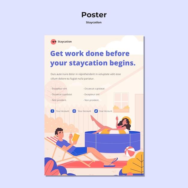 Staycation konzept poster stil Kostenlosen PSD