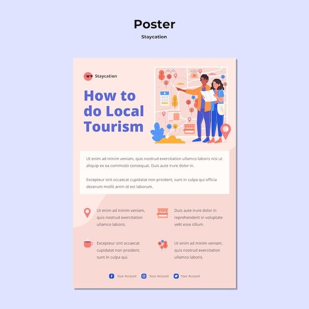 Staycation konzept poster vorlage Kostenlosen PSD