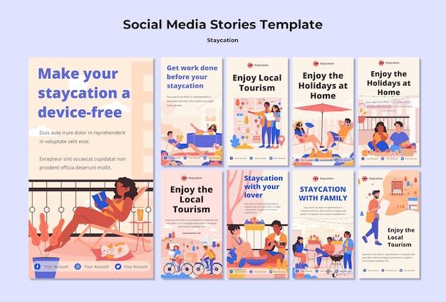 Staycation konzept social media geschichten Kostenlosen PSD