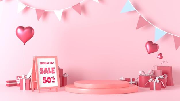 Stehendes plakatmodell und podiumsvitrine am valentinstag mit dekorationen Premium PSD