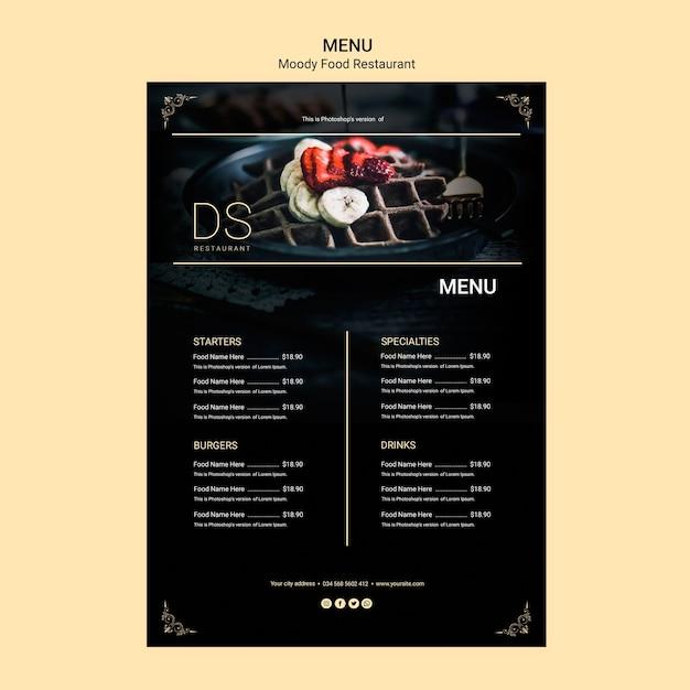 Stimmungsvolles essen restaurant menü Kostenlosen PSD