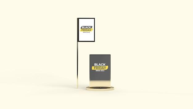 Street digital led advertisement pole und board mockup Premium PSD