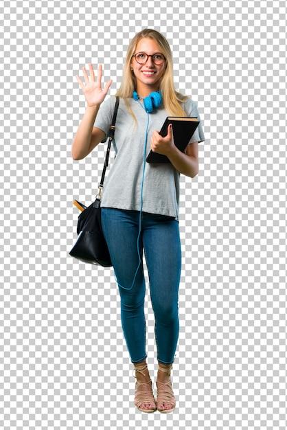 Studentenmädchen mit den gläsern, die fünf mit den fingern zählen Premium PSD