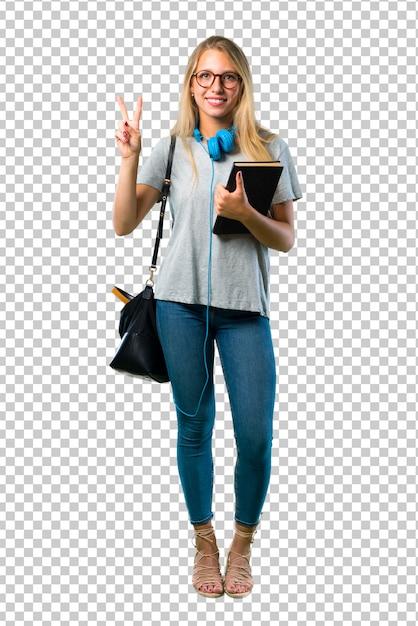 Studentenmädchen mit den gläsern glücklich und zwei mit den fingern zählend Premium PSD