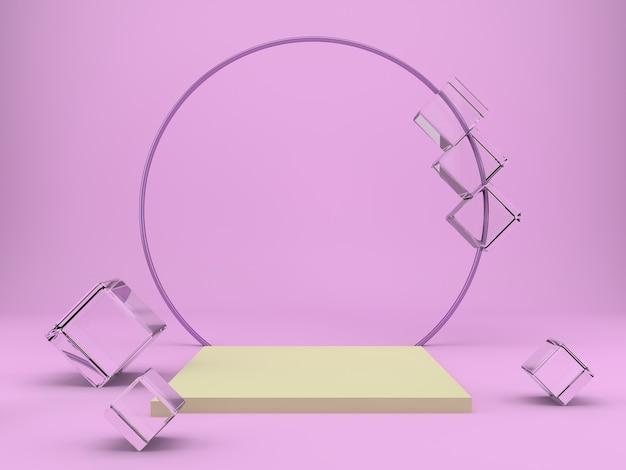 Studio mit geometrischen formen und podium für das rendern von produktpräsentationen Premium PSD