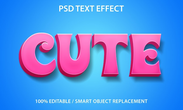 Süße vorlage für texteffekte Premium PSD