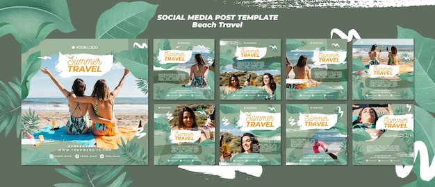 Summer beach travel social media post Premium PSD