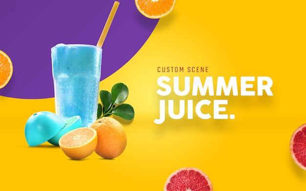 Summer juice custom scene maker Premium PSD
