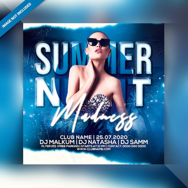 Summer madness party flyer Premium PSD