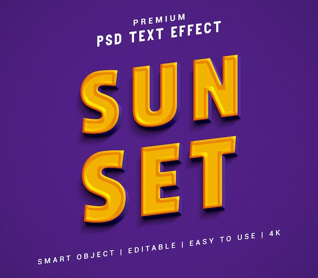 Sun set texteffektgenerator Premium PSD