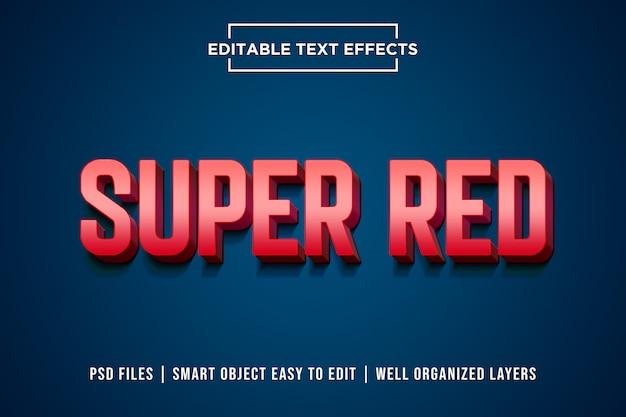 Super red 3d textstil effekt premium psd Premium PSD