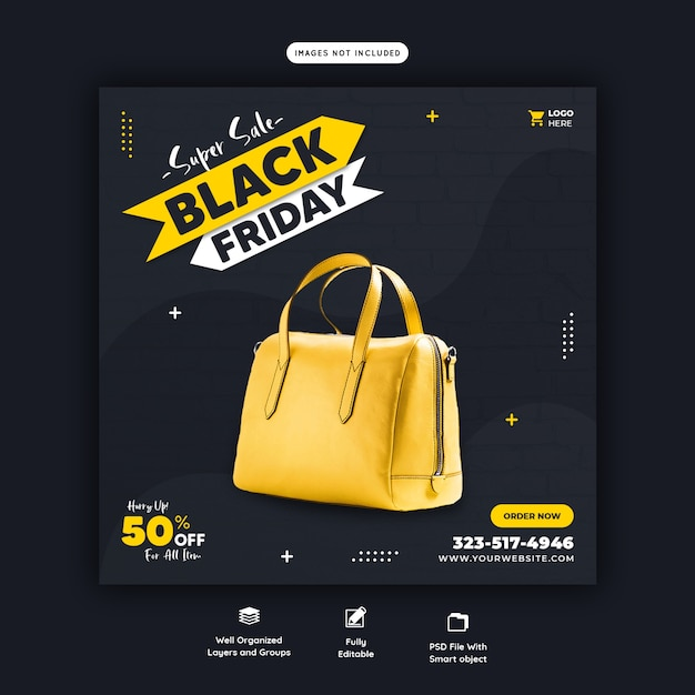 Super sale black friday social media banner vorlage Kostenlosen PSD