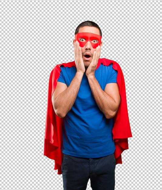Superheld posiert schockiert Premium PSD