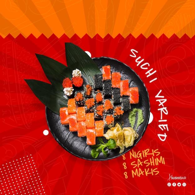 Sushirezept mit rohen fischen für asiatisches japanisches restaurant oder sushi Kostenlosen PSD