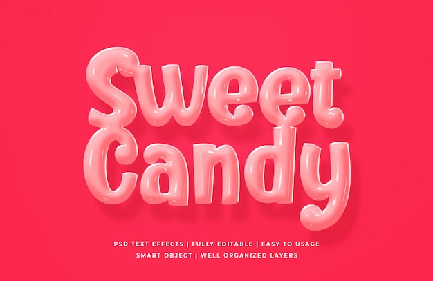 Sweet candy texteffekt Premium PSD