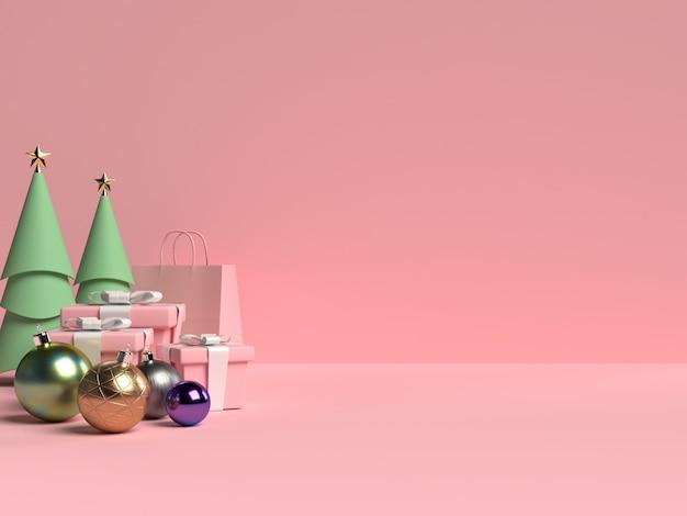 Szene des weihnachtspodestes mit geschenkbox und kugel auf rosa hintergrund im 3d-rendering Premium PSD