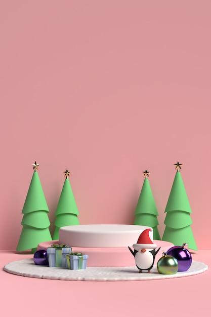 Szene des weihnachtspodestes mit geschenkbox und pinguin auf rosa hintergrund im 3d-rendering Premium PSD
