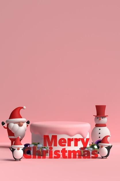 Szene des weihnachtspodestes mit geschenkbox und pinguin im 3d-rendering Premium PSD