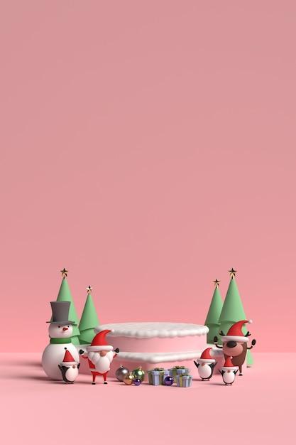 Szene des weihnachtspodestes mit weihnachtsmann-3d-darstellung Premium PSD