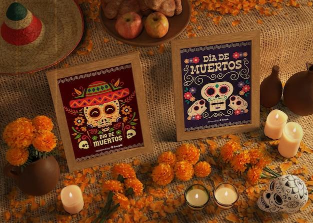 Tag der hohen ansicht von toten traditionellen mexikanischen modellen Kostenlosen PSD