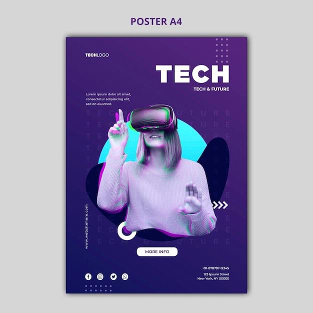 Tech & future poster konzept vorlage Kostenlosen PSD