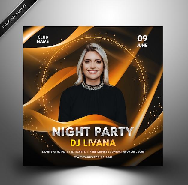 Techno dj musik party vorlage, quadratischer flyer für instagram. Premium PSD