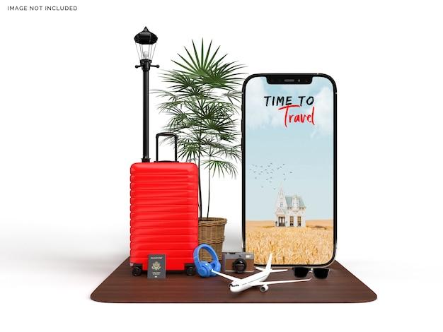 Telefon und koffer mit modell für reisende und flugzeugzubehör Premium PSD