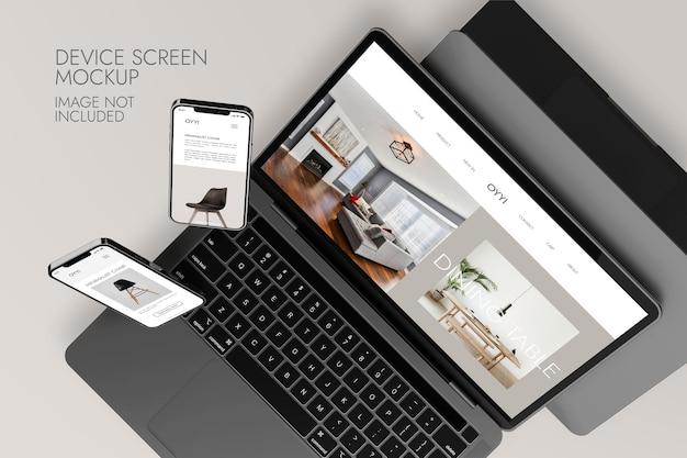 Telefon- und notebook-bildschirm - gerätemodell Kostenlosen PSD