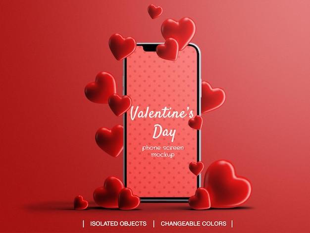Telefonbildschirmmodell für valentinstagkonzept mit isolierten herzen Premium PSD